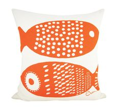 Double Tuna 20in Pillow in Mango by erinflett on Etsy