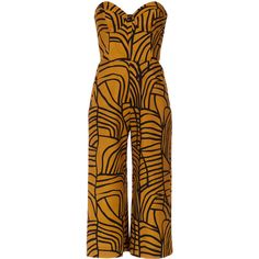 Andrea Marques strapless cropped jumpsuit found on Polyvore featuring jumpsuits, black, jump suit, strapless jumpsuit, andrea marques and cropped jumpsuit