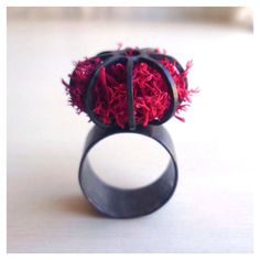 Black Cage Ring - Oxidized - Sterling Silver - Size 4 thru 7 - Hot Pink - Terrarium Ring - Organic - Pink Moss - Moss Ring - Statement Ring Textile Jewelry, Jewelry Art, Jewelry Rings, Silver Jewelry, Urban Jewelry, Unusual Rings, Mixed Media Jewelry, Big Rings, Handmade Rings