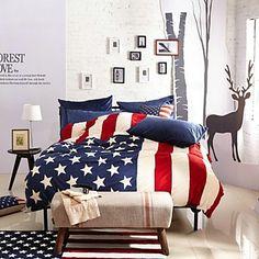 H&C ® Velvet Duvet Cover Set 4 Pieces American National Flag Pattern American Style – USD $ 104.99