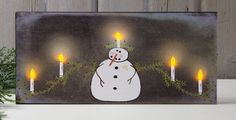 Radiance Lighted Canvas Snowman Candelabra