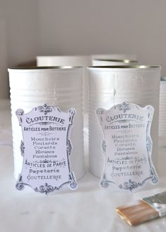 DIY Vintage French Recycled Tin Cans Project & Free Printable! DIY Vintage French Recycled Tin Cans & free printable - by Dreams Factory for The Graphics Fairy Diy Vintage, French Vintage, Vintage Images, French Art, Tin Can Crafts, Crafts To Make, Graphics Fairy, Decoupage Tins, Decoupage Printables