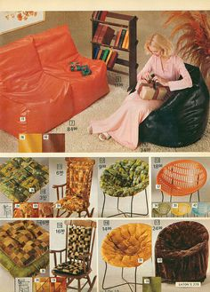 Mod Living Room Furniture (beanbag chair and papasan / basket chair) for inspiration in - 1975 Eatons Christmas Catalog Retro Ads, Vintage Advertisements, Vintage Ads, Vintage Decor, 1970s Decor, Retro Home Decor, 70s Furniture, Vintage Furniture, Bean Bag Design