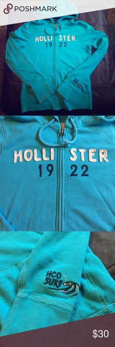 Hollister zip up jacket Cute blue zip up. Super soft and comfortable! Size large Hollister Jackets & Coats