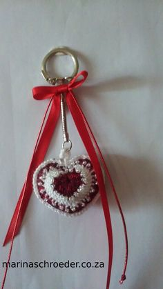 All Things Creative Thread Crochet, Key Rings, Seed Beads, Heart Shapes, Keys, Valentines Day, Crochet Patterns, Christmas Ornaments, Holiday Decor
