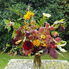 Autumn floral adventure. I only use flowers and greenery from our farm.