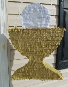 Chalice with Host Custom Piñata. Perfect for 1st Holy Communion, baptism, CCD, teachers, etc. Made by Piñatas Plus - email pinatasplus@gmail.com