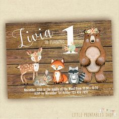 Woodland Birthday Invitation Forest by LittlePrintablesShop