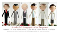 Clothespin dolls ----photo only Standard clothing options for the groom