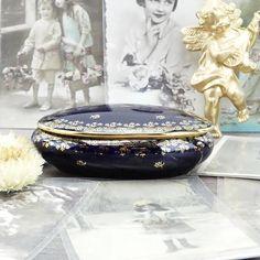 Pilulier Limoges - Porcelaine de Limoges - Boîte en porcelaine - Pilulier français - Décoration française - bleu - or - Luxe français - Chic