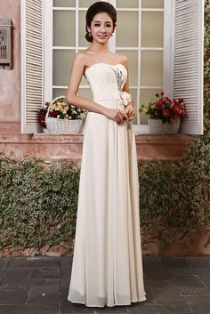 Elegant Crystal and Floral Empire Waist Gown