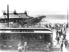 A Pacific Electric car in Long Beach. Trolley Tracks Once Ran Through the Beaches of Los Angeles Long Beach California, California Coast, Southern California, Vintage California, Orange County Beaches, San Luis Obispo County, Seal Beach, Beach Town, Huntington Beach