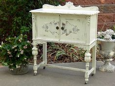 FABULOUS Shabby OLD SMALL BUFFET CABINET SIDEBOARD French White Paint~CHIC!