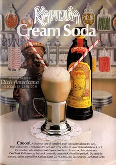 kahlua-cream-soda Cocktail Drinks, Fun Drinks, Yummy Drinks, Alcoholic Drinks, Beverages, Cocktail Club, Drinks Alcohol, Summer Cocktails, Retro Recipes