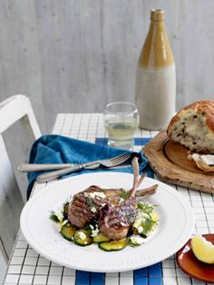 Australian Gourmet Traveller recipe for char-grilled lamb with zucchini, feta and dill by Pireaus Blues, Fitzroy, Vic. Lamb Recipes, Greek Recipes, Greek Dinners, Grilled Lamb, Greek Cooking, Xmas Food, Low Calorie Recipes, Family Meals, Feta