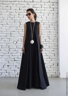 Купить или заказать Черное платье в пол, черный сарафан в интернет магазине на Ярмарке Мастеров. С доставкой по России и СНГ. Материалы: хлопок. Размер: XS- 5XL