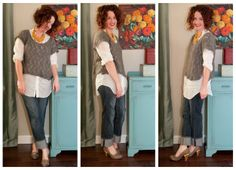 Lisa Leonard's What I Wore Wednesday.  She always looks so cute and put together.  Love the grey with tiny touches of yellow here.