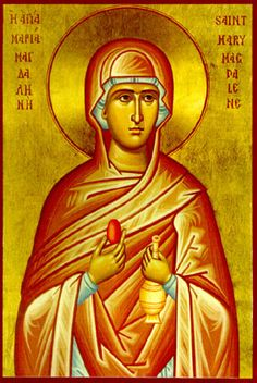 Mary Magdalene the Myrrh-bearer and Equal-to-the-Apostles - Commemorated on July and with the Holy Myrrhbearers on the Second Sun. Mary Magdalene And Jesus, Greek Icons, Church Icon, Images Of Mary, Jesus Stories, Religious Paintings, Portraits, Religious Icons, Knights Templar
