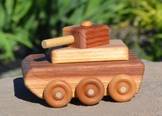 Redwood Military Tank Heirloom Toy Handmade by WoodenGiraffeToys, $12.00