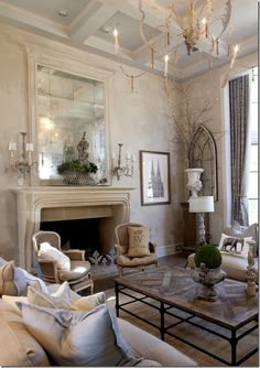 Get the look of a gorgeous French Country living room at kathykuo.com.