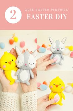 Set of 2 Easter Patterns Bunny ChickAn Inseparable couple!Two sweet felt plushes.You can easely sew these funny plushes using the patterns.This could be your perfect Easter gift! Easy Sewing Patterns, Pdf Patterns, Plush Pattern, Bunny Plush, Felt Toys, Felt Ornaments, Easter Gift, Sewing Projects, Couple