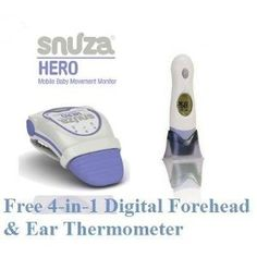 Snuza Hero Infant Baby Movement Monitor + Free 4-in-1 Forehead & Ear Baby Thermometer
