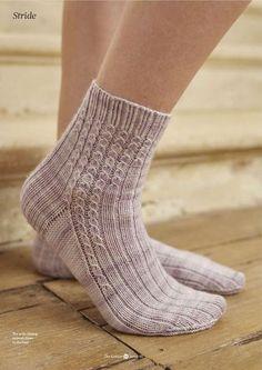 Stride pattern by Clare Devine - Stulpen, Socken und Schuhe - Knitting Ideas Crochet Socks, Knitting Socks, Hand Knitting, Knitting Patterns, Knit Crochet, Wool Socks, My Socks, Patterned Socks, Sock Yarn