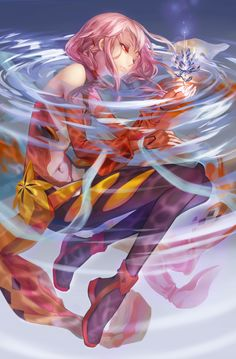 """Tags: """"bodysuit"""" """"boots"""" """"hairpins"""" """"long hair"""" """"pink hair"""" """"red eyes"""" """"twin tails"""" """"water"""" Source: """"Guilty Crown"""" Characters: """"Yuzuriha Inori"""" Artist: """"Hugo"""""""