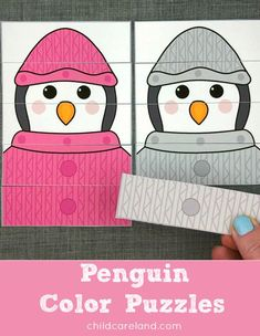 Penguin color puzzles for color recognition and fine motor skills.