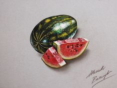 Marcello Barenghi draws incredibly hyper-realistic everyday objects in 3 dimensional with the help of colored pencils, markers or watercolor. Pencil Drawing Pictures, Realistic Pencil Drawings, 3d Drawings, Colorful Drawings, Pictures To Draw, Drawing Tips, Drawing Ideas, Watermelon Drawing, Still Life Fruit
