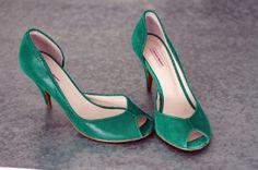 Escarpins à bouts ouverts PATRICIA BLANCHET 39 vert très bon état vendu par d'Amoun523123 - 4716127