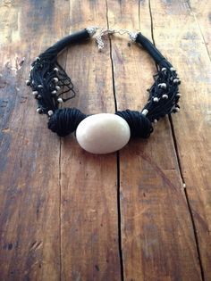 Boho Necklace Off White Tagua Nut Bead Indonesian by ReTeTeer