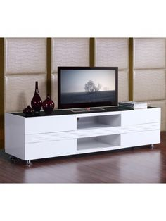 Publisher TV Stand in High Gloss White with Black Glass Top | BM-803-WHT | B-Modern