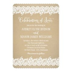 """Wedding invitations feature """"Celebration of Love"""" in script, a charming illustrated border design of vintage white floral and dotted lace, and a background with a rustic kraft brown paper textured appearance."""