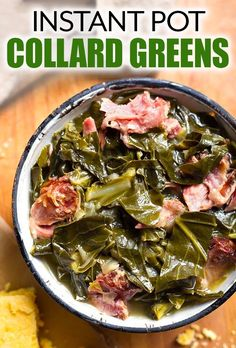 Rich, flavorful Instant Pot Collard Greens & a ham hock are delish! We love these pressure cooked collard greens with cornbread! Faster than on the stove! Best Instant Pot Recipe, Instant Pot Dinner Recipes, Side Dish Recipes, Side Dishes, Ham Dishes, Instant Recipes, Instant Pot Pressure Cooker, Pressure Cooker Recipes, Pressure Cooking