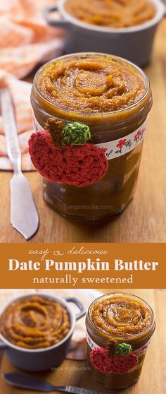 {with video} A lightly spiced and naturally sweetened pumpkin butter with dates, no added sugar. This butter is great smeared on toasts, crackers, pancakes, added to porridge or incorporated in other sweet treats.