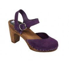 wooden clogs in purple