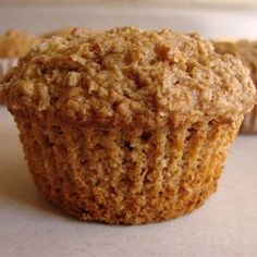 Oatbran Muffin 6 ct: 1 C. oat bran hot cereal uncooked,1⁄8 C. firmly packed brown sugar, 1 tsp. baking powder,1⁄4 tsp. salt, 1/2 C. milk, 4 tsp. beaten egg, 1⁄8 C. honey or maple syrup, 1 Tbsp. vegetable oil. Stir in 1/4 C. frozen blueberries or 1 small ripe mashed banana.