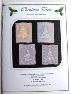 CHRISTMAS TREES BY ADELE  Four beautiful Christmas card designs. The patterns come with full colour illustrations, full size patterns and clear working instructions. All patterns in Adele's pattern packs are printed on high photo quality paper to ensure ease of use. Clear, concise instructions ensure that even new-comers to this fascinating craft can follow them with ease.