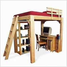 Bedding Ideas for College Dorms.. Ipersonally love the idea of the bookshelf underneath the bed! Great for a lounge area!