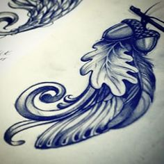 feather acorn and oak leaf tattoo - Google Search Family Tattoos, New Tattoos, Tribal Tattoos, Cool Tattoos, Tatoos, Stand Tall Tattoo, Oak Leaf Tattoos, Acorn Tattoo, Tree Tattoo Designs