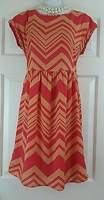 The Limited Outback Red Pink & Orange Chevron Shift Cap Sleeve Lined Dress 6