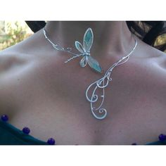 Dragonfly Tales Torc/ Neckpiece - $179.99 : Medieval Bridal Fashions, Circlets, Headpieces, Necklaces and Bracelets for your Renaissance, Celtic or Elven Wedding! ($120) found on Polyvore
