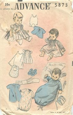 Advance 5873 Vintage 1950s Infant Layette Pattern When I was a child my mom would draw little pictures of babies for me. They looked just like this.