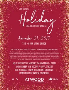 It's time for our Holiday Party! Enjoy yummy pasta catered by Bucca De Beppo while mingling with your fellow residents! This year, we've chosen to support The Minneapolis Crisis Nursery. Donate items and receive a raffle ticket for some awesome prizes! 3 Bedroom Floor Plan, Eden Prairie, Grab And Go Breakfast, Party Catering, Renting A House, Minneapolis, Rsvp, Told You So