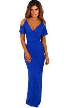 b9a846ef83f0 Blue Deep V Shoulder Cut-Out Maxi Dress