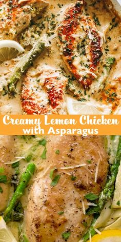 Creamy Lemon Chicken with Asparagus – Delicious, bright, and simple, this lemon chicken recipe is the perfect easy weeknight meal made entirely in j. Lemon Chicken With Asparagus, Lemon Rosemary Chicken, Creamy Lemon Chicken, Asparagus Recipe, Lemon Chicken Sauce, Asparagus Stuffed Chicken, Recipes With Asparagus, Recipes With Cilantro, Recipes With Lemon