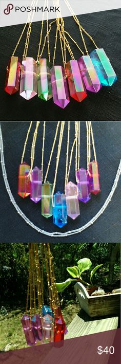 Aura Rainbow Crystal Pendant (1) -HP- Double pointed aura crystal. Comment color and for custom chains. We have gold copper chain or stainless steel and leather cord.  Aura Quartz have been part of the New Age movement since the 1980s, prized for their ability to expand the consciousness and heal the physical and spiritual body with their extraordinary high vibration.   You can find info on each colors formation and properties at https://www.crystalvaults.com/crystal-encyclopedia/aura-quartz…