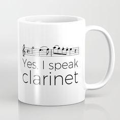 """Purchase """"I speak clarinet"""" mugs"""