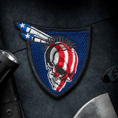 """Go Savage with the Modern Arms """"Native Warrior"""" Series. Original Design and Expert Embroidery make MA Patches perfect for your jacket, hat or range gear! Funny Patches, Cool Patches, Pin And Patches, Tactical Patches, Tactical Gear, Tactical Knives, Tactical Equipment, Police Gear, Bone Tattoos"""